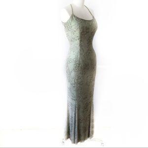 Cache Sage Green Silk Beaded Mermaid Maxi Gown